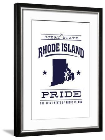Rhode Island State Pride - Blue on White-Lantern Press-Framed Art Print