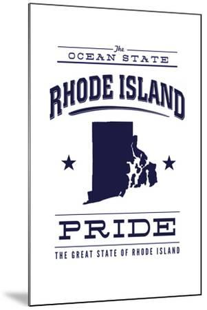 Rhode Island State Pride - Blue on White-Lantern Press-Mounted Art Print