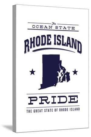 Rhode Island State Pride - Blue on White-Lantern Press-Stretched Canvas Print