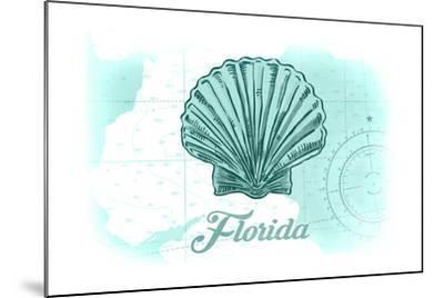 Florida - Scallop Shell - Teal - Coastal Icon-Lantern Press-Mounted Art Print