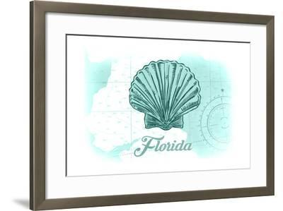 Florida - Scallop Shell - Teal - Coastal Icon-Lantern Press-Framed Art Print