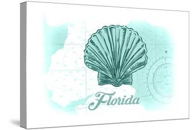 Florida - Scallop Shell - Teal - Coastal Icon-Lantern Press-Stretched Canvas Print