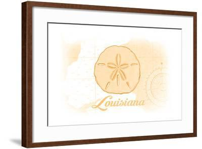 Louisiana - Sand Dollar - Yellow - Coastal Icon-Lantern Press-Framed Art Print