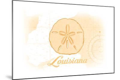 Louisiana - Sand Dollar - Yellow - Coastal Icon-Lantern Press-Mounted Art Print
