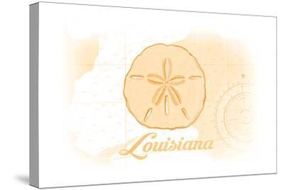Louisiana - Sand Dollar - Yellow - Coastal Icon-Lantern Press-Stretched Canvas Print