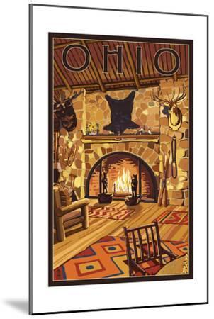 Ohio - Lodge Interior-Lantern Press-Mounted Art Print
