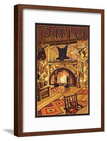 Ohio - Lodge Interior-Lantern Press-Framed Art Print