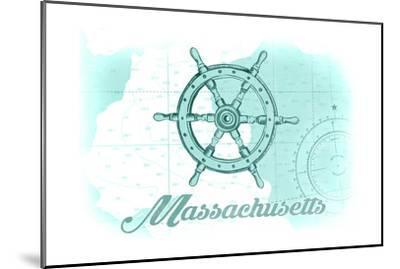 Massachusetts - Ship Wheel - Teal - Coastal Icon-Lantern Press-Mounted Art Print