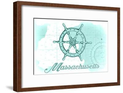 Massachusetts - Ship Wheel - Teal - Coastal Icon-Lantern Press-Framed Art Print