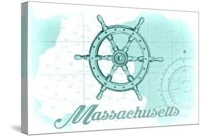 Massachusetts - Ship Wheel - Teal - Coastal Icon-Lantern Press-Stretched Canvas Print