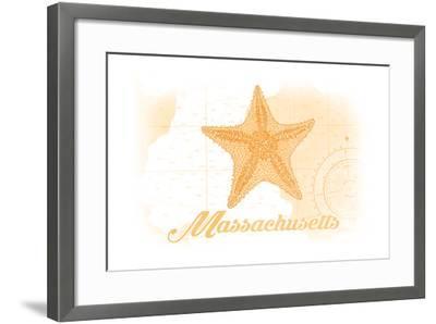 Massachusetts - Starfish - Yellow - Coastal Icon-Lantern Press-Framed Art Print