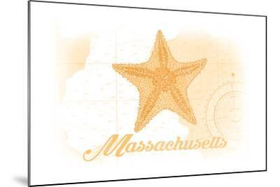 Massachusetts - Starfish - Yellow - Coastal Icon-Lantern Press-Mounted Art Print