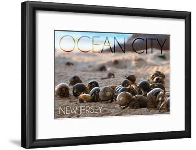 Ocean City, New Jersey - Group of Hermit Crabs-Lantern Press-Framed Art Print