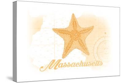 Massachusetts - Starfish - Yellow - Coastal Icon-Lantern Press-Stretched Canvas Print
