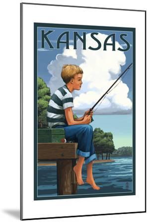 Kansas - Boy Fishing-Lantern Press-Mounted Art Print