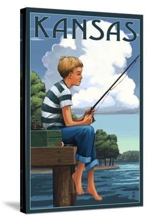 Kansas - Boy Fishing-Lantern Press-Stretched Canvas Print