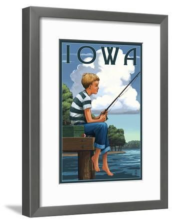 Iowa - Boy Fishing-Lantern Press-Framed Art Print
