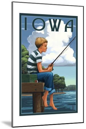 Iowa - Boy Fishing-Lantern Press-Mounted Art Print