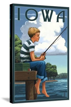 Iowa - Boy Fishing-Lantern Press-Stretched Canvas Print