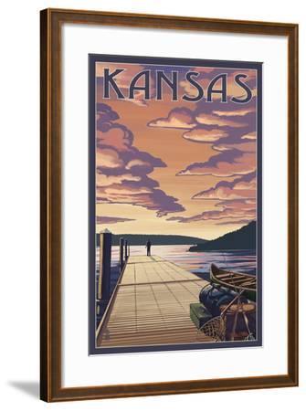 Kansas - Dock Scene and Lake-Lantern Press-Framed Art Print