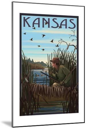 Kansas - Hunter and Lake-Lantern Press-Mounted Art Print