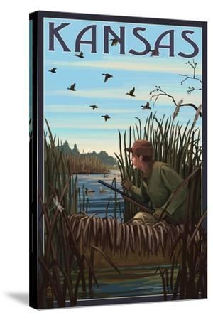 Kansas - Hunter and Lake-Lantern Press-Stretched Canvas Print