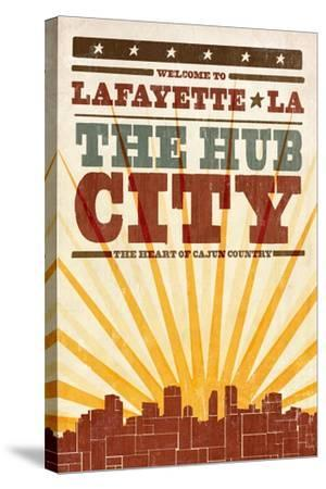 Lafayette, Louisiana - Skyline and Sunburst Screenprint Style-Lantern Press-Stretched Canvas Print