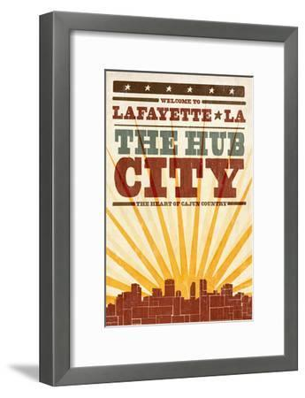 Lafayette, Louisiana - Skyline and Sunburst Screenprint Style-Lantern Press-Framed Art Print