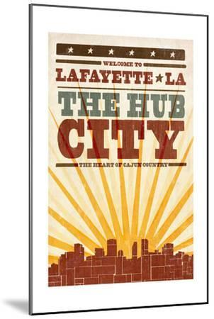 Lafayette, Louisiana - Skyline and Sunburst Screenprint Style-Lantern Press-Mounted Art Print
