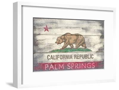 Palm Springs, California - Barnwood State Flag-Lantern Press-Framed Art Print