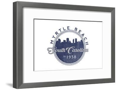 Myrtle Beach, South Carolina - Skyline Seal (Blue)-Lantern Press-Framed Art Print