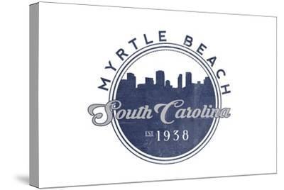 Myrtle Beach, South Carolina - Skyline Seal (Blue)-Lantern Press-Stretched Canvas Print