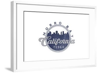 Morro Bay, California - Skyline Seal (Blue)-Lantern Press-Framed Art Print