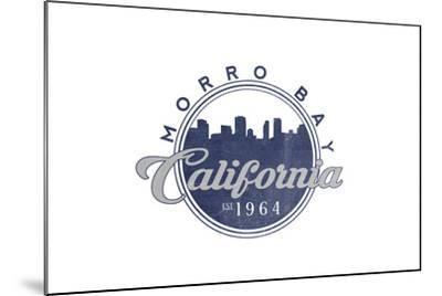 Morro Bay, California - Skyline Seal (Blue)-Lantern Press-Mounted Art Print