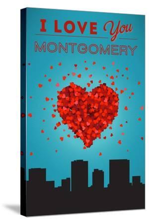 I Love You Montgomery, Alabama-Lantern Press-Stretched Canvas Print