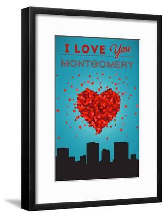 I Love You Montgomery, Alabama-Lantern Press-Framed Art Print