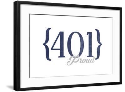 Newport, Rhode Island - 401 Area Code (Blue)-Lantern Press-Framed Art Print