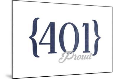 Newport, Rhode Island - 401 Area Code (Blue)-Lantern Press-Mounted Art Print