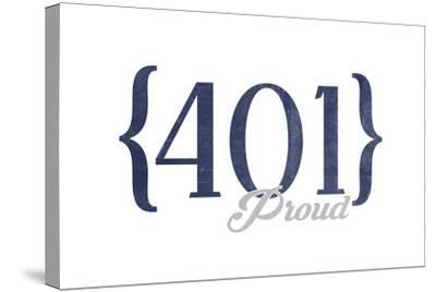 Newport, Rhode Island - 401 Area Code (Blue)-Lantern Press-Stretched Canvas Print
