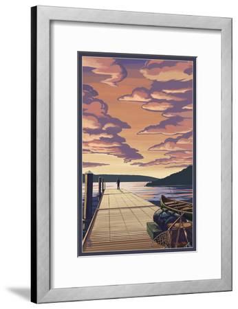 Dock Scene and Lake-Lantern Press-Framed Art Print
