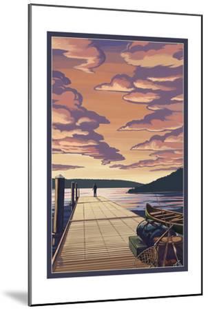 Dock Scene and Lake-Lantern Press-Mounted Art Print