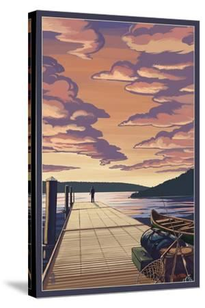 Dock Scene and Lake-Lantern Press-Stretched Canvas Print