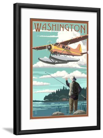 Washington - Float Plane and Fisherman-Lantern Press-Framed Art Print