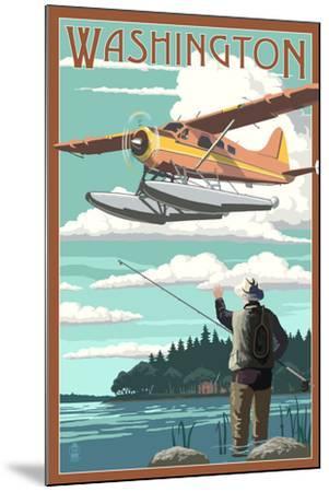 Washington - Float Plane and Fisherman-Lantern Press-Mounted Art Print