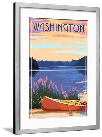 Washington - Canoe and Lake-Lantern Press-Framed Art Print