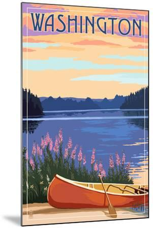 Washington - Canoe and Lake-Lantern Press-Mounted Art Print