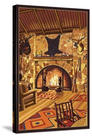 Lodge Interior-Lantern Press-Stretched Canvas Print