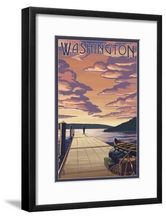 Washington - Dock Scene and Lake-Lantern Press-Framed Art Print
