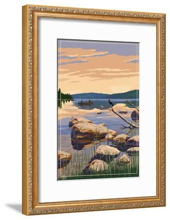 Lake Sunrise Scene-Lantern Press-Framed Art Print