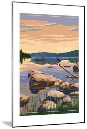 Lake Sunrise Scene-Lantern Press-Mounted Art Print
